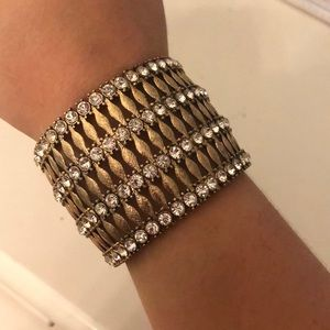 Jewelry - Gold and rhinestone bracelet cuff